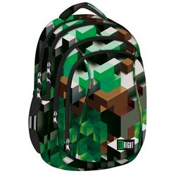 St.Right Schulrucksack Schulrucksack Rucksack für Schule Oberstufe 26 l 3D Blöcke Jungen grün 4 Fächer