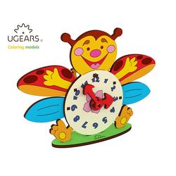 UGEARS 3D-Puzzle UGEARS Holz 3D-Puzzle Modellbausatz Marienkäfer Uhrwerk, 23 Puzzleteile