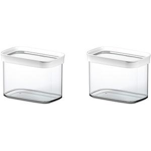 Emsa 513557 Optima Trockenvorratsdose, stapelbar, rechteckig, 1.0 Liter, klar/weiß (2 Stück)