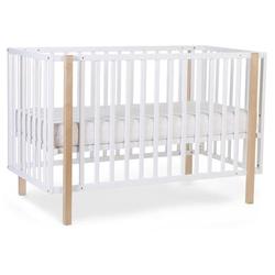 CHILDHOME Babybett weiß natur 60 x 120 cm + Räder