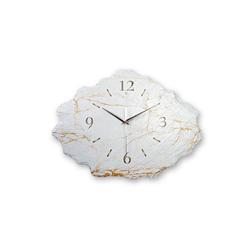 Kreative Feder Wanduhr Marmor-Optik (leise/kein Ticken, Wanduhr, Funkuhr, Quarzuhr, aus echtem Schiefer, 40x30cm, Marmor-Optik, WS228)