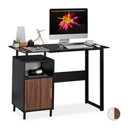 Schreibtisch mit Glasplatte schwarz