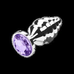Gerillter Analplug mit Kristall, 9,5 cm