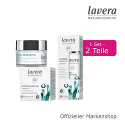 lavera Gesichtspflege-Set, 2-tlg., Gesichtspflege Set mit Creme-Gel und Serum Bio-Alge