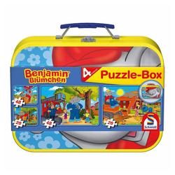 Schmidt Spiele Puzzle Benjamin Blümchen Puzzle im Metallkoffer 4 Puzzle, 148 Puzzleteile