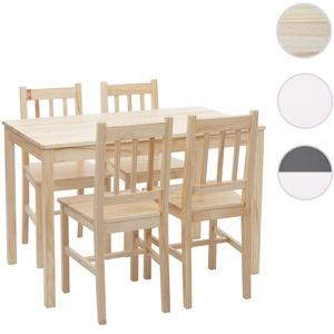 Esszimmer-Set HWC-F77, Sitzgruppe Esszimmergruppe, Massiv-Holz Landhaus 110cm ~ Kiefer lasiert