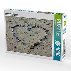 Herz am Strand, Steine Lege-Größe 64 x 48 cm Foto-Puzzle Bild von Gerd Matschek Puzzle