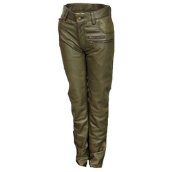 Lederhose Leder-Designer Jeans in ECHT-Leder in olive