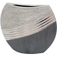 Dekohelden24 Edle Moderne Deko Designer Keramik Vase in Silber-grau, 19 cm