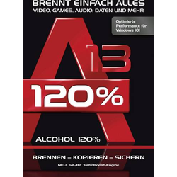 Alcohol 120% Version 13 Vollversion, 1 Lizenz Windows Brenn-Software