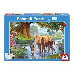 Schmidt Spiele Puzzle Pferde am Bach, 150 Puzzleteile