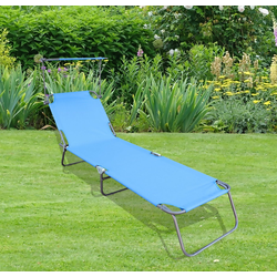 VCM Gartenliege Gartenliege mit Sonnendach blau