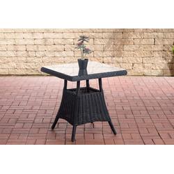 CLP Gartentisch Vaulen, quadratischer Gartentisch aus Polyrattan schwarz