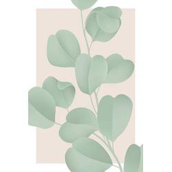 queence Leinwandbild Blätter mit rosa Hintergrund 60 cm x 90 cm x 2 cm
