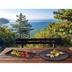 APS Servierplatte, Melamin, (2-tlg), Set Camping-Geschirr, Geschirrset für Wohnmobil, Picknickgeschirr Outdoor schwarz