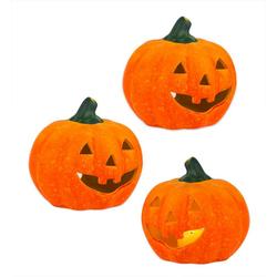 BigDean Windlicht Kürbis groß 13x14 cm Halloween Dekoration Herbstdeko Teelichthalter aus Keramik (3 Stück)