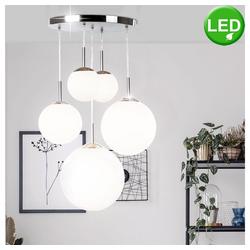 etc-shop LED Pendelleuchte, LED Hängeleuchte Hängelampe Pendelleuchte Pendellampe 5 Opal Glas Kugeln Leuchte