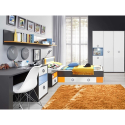 Jugendzimmer Colors 5tlg mit 140er Bett und 4trg. Schrank