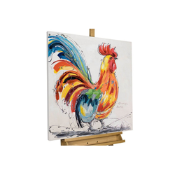 KUNSTLOFT Gemälde Hahn im Korb, handgemaltes Bild auf Leinwand