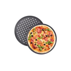 relaxdays Pizzablech Pizzablech rund 2er Set, Stahl