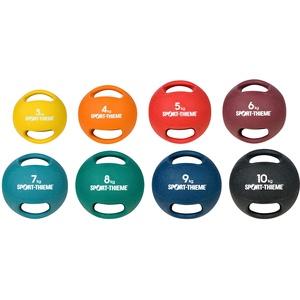 Sport-Thieme Medizinball mit Griff | formbeständig | 3-10 kg | schwarz, gelb, orange, rot, hellblau, Bordeaux, grün, dunkelblau | Geeignet als Hantel, Medizinball oder Kettlebell