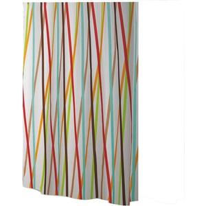 Ekershop EDLER Textil Duschvorhang 240 x 200 cm EINTEILIG Bunte Streifen Weiss Braun Türkis Orange Rot inkl Ringe