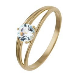 JOBO Fingerring, 585 Gold mit Blautopas 60