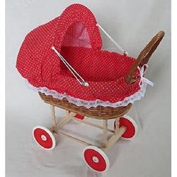 Welt der Träume Puppenwagen Holzpuppenwagen Rot mit weißen Herzen inkl. Decke und Kissen