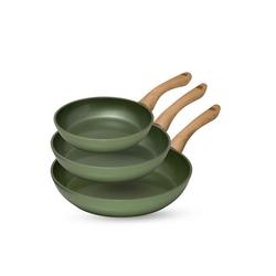 JUST VEGAN® Pfannen-Set Cera Vegan, Aluminiumguss (Set, 3-tlg., 3 Pfannen), mit pflanzlicher Keramik-Antihaftbeschichtung auf Basis von Avocado-Öl
