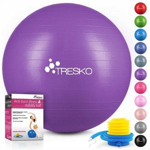 TRESKO Gymnastikball, Yogaball mit GRATIS Übungsposter inkl. Luftpumpe - Fitnessball BPA-Frei, Sitzball Büro, Sitzball Anti-Burst, 300 kg Belastbarkeit lila 75 cm