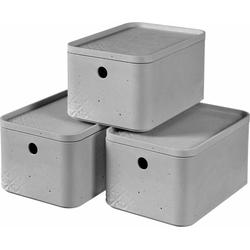 Curver Aufbewahrungsbox BETON S (Set, 3 Stück), stapelbar, je 4 Liter