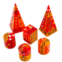 Afrika-Deko Formkerze 6er-Kerzenset rot