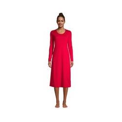 Wadenlanges Supima Langarm-Nachthemd - 48-50 - Rot
