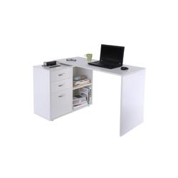 HOMCOM Schreibtisch Computertisch mit Schubladenschrank weiß
