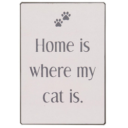 Ib Laursen Metallschild Metallschild Blechschild Schild Katze Home is where my cat is Laursen 70092-00