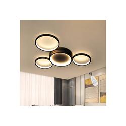 ZMH LED Deckenleuchte Deckenlampe Modern 4 Flammig in Ring-Design dimmbar mit Fernbedienung 52W für Schlafzimmer Wohnzimmer Flur Büro Arbeitszimmer schwarz