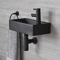 Eckiges Hängewaschbecken Schwarz 40x22cm 1-Hahnloch ohne Überlauf - Nox, von Hudson Reed