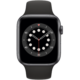 Apple Watch Series 6 GPS + Cellular 44 mm Aluminiumgehäuse space grau, Sportarmband schwarz