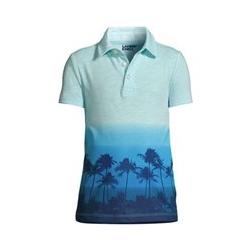 Slub-Jersey Poloshirt, Größe: 122/128, Blau, by Lands' End, Petrol Palmen - 122/128 - Petrol Palmen