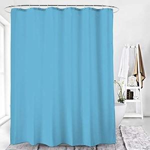 Duschvorhang Textil Badewannenvorhang 120/180 / 240 x 200 cm inkl Ringe (180x200cm, Lichtblau)