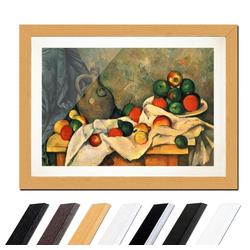 Bilderdepot24 Wandbild, Paul Cézanne - Stillleben mit Vorhang, Krug und Obstschale bunt 40 cm x 30 cm