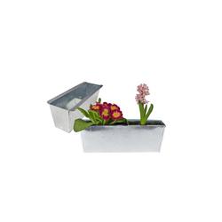 BigDean Blumenkasten Pflanzkasten Balkonkasten Europalette Blumenkübel verzinkt Pflanzkübel LxBxH ca. 35,5 x 12 x 12,5 cm Palette Palettenmöbel balkon Pflanztrog (2 Stück)