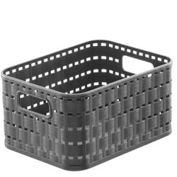 Rotho COUNTRY Aufbewahrungskorb, 2 Liter, 18,3 x 13,7 x 0,98 cm, Aufbewahrungsbox aus Kunststoff in moderner Rattan-Optik, Farbe: anthrazit