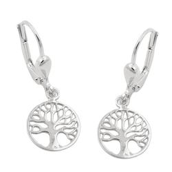 Gallay Paar Ohrhänger Brisur 26x10mm Ohrring Baum des Lebens Silber 925