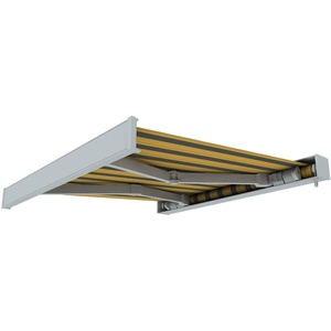 paramondo Markise Kassettenmarkise Line Gelenkarmmarkise Balkon Terrasse Sichtschutz, mit jarolift Funkmotor, 6 x 3 m, Gestell: Weiß, Stoff: Block, Gelb-Grau