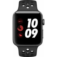 Apple Watch Nike+ Series 3 (GPS + Cellular) 42mm Aluminiumgehäuse space grau mit Nike Sportarmband anthrazit / schwarz