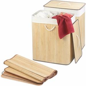 infactory 2er-Set Faltbare Bambus-Wäschekörbe mit Deckel und Wäschesack, natur