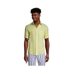 Leinenhemd mit kurzen Ärmeln, Classic Fit, Herren, Größe: S Normal, Gelb, by Lands' End, Gelb Zitrone Leinen - S - Gelb Zitrone Leinen