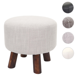 Sitzhocker HWC-C29, Ottomane Hocker Fußhocker, Ø 42cm rund ~ Textil beige