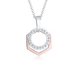 Elli Collierkettchen Hexagon Kreis Kristalle 925 Silber goldfarben